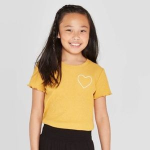Yellow Lettuce Edge T-Shirt with Embroidered Heart